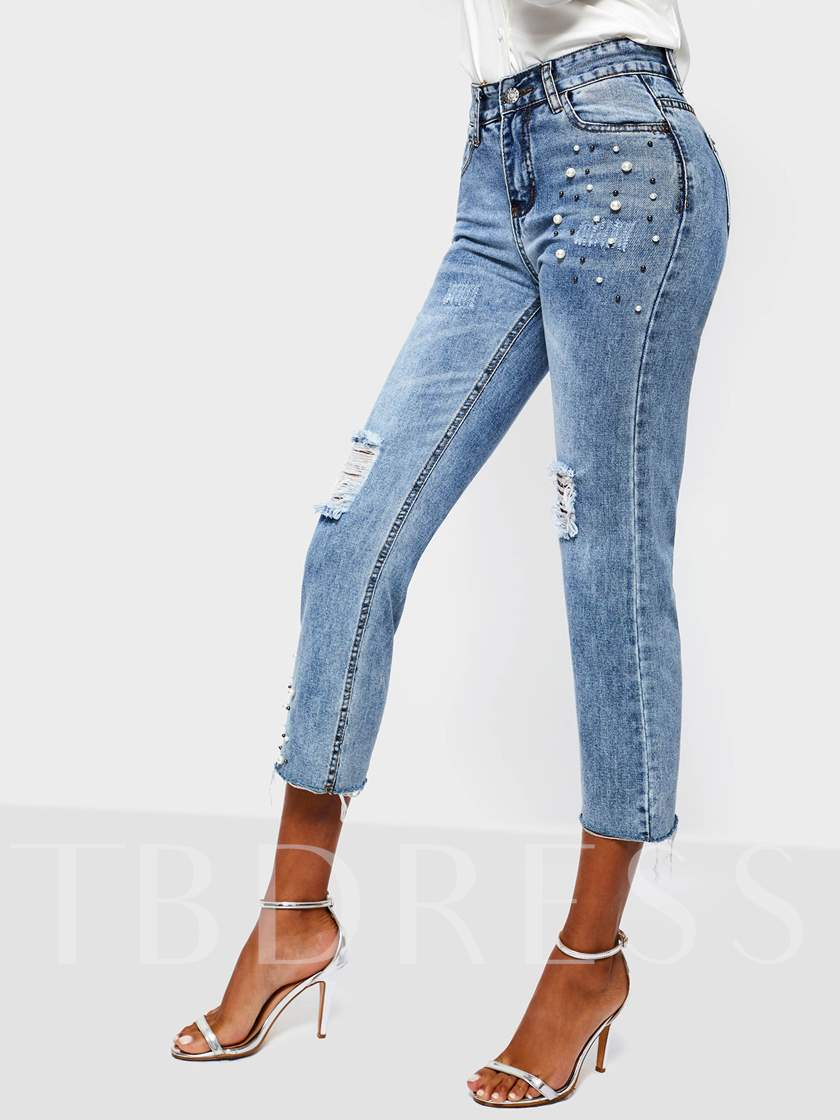 Straight Plain Bead High-Waist Women's Jeans