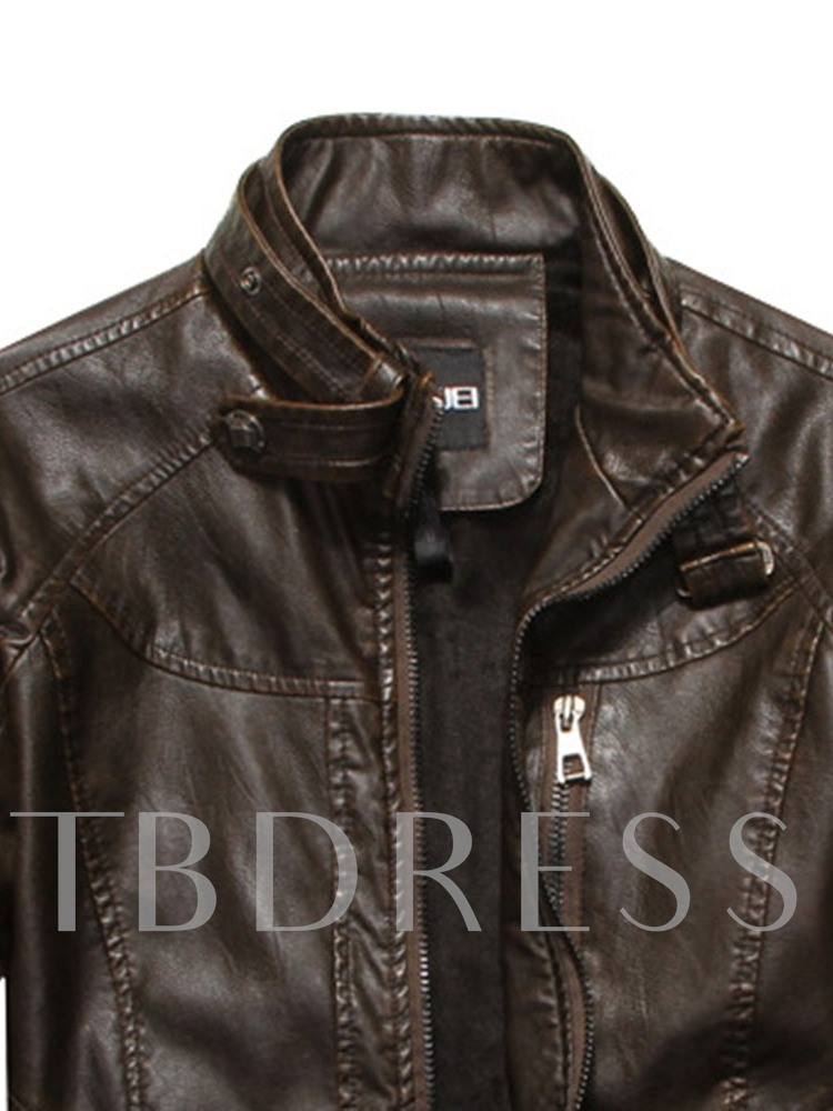 Plain Stand Collar Straight Men's Leather Jacket