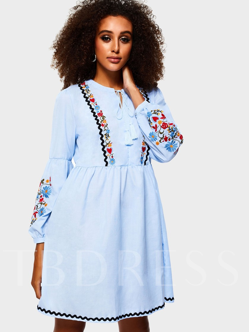 Embroidery A-Line Women's Long Sleeve Dress