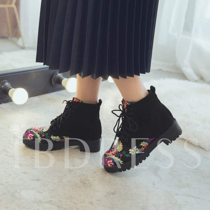 Floral Embroidered Lace-Up Front Block Heel Round Toe Ankle Boots
