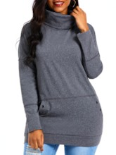 Turtleneck Kangaroo Pocket Mid-Length Women's Sweatshirt