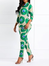 Print Geometric Casual Pants Pullover Women's Two Piece Sets