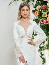 Long Sleeve Lace Trumpet Wedding Dress 2019