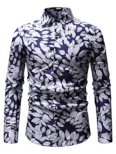Lapel Leaf Print Men's Shirt