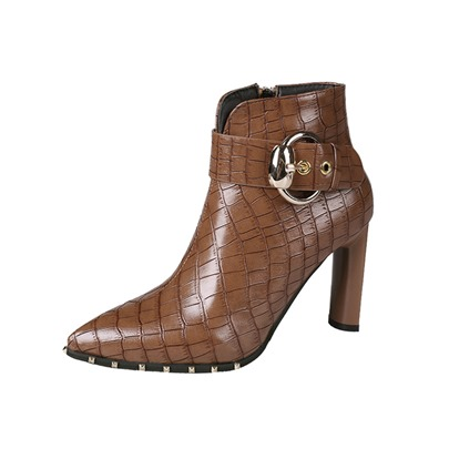 pointed toe chunky heel side zipper animal print ankle boots