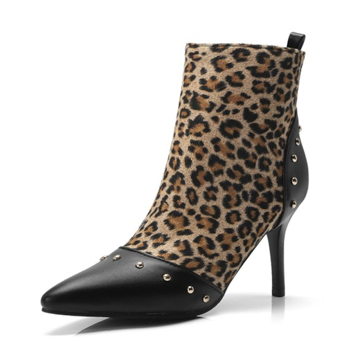 Stiletto Heel Side Zipper Leopard Print Pointed Toe Women's Ankle Boots