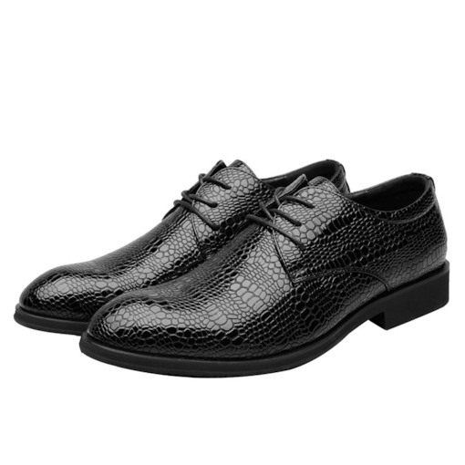 Alligator Pattern Low-Cut Upper Pointed Toe Lace Up Men's OXford