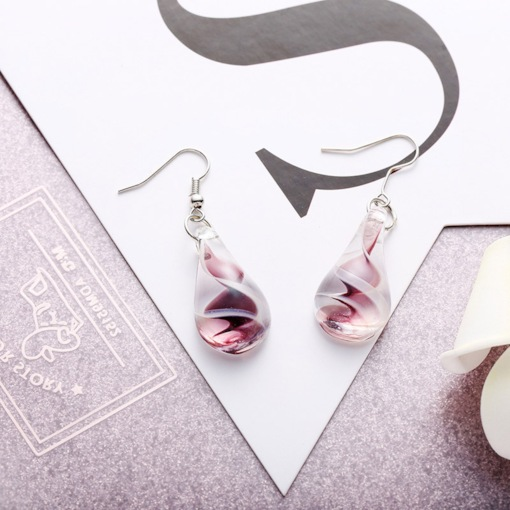 Glass Water Drop Shape Ethnic Drop Earrings
