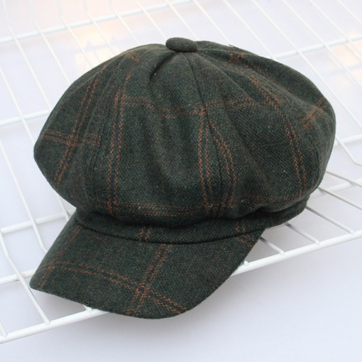 Plaid Wool Blends Casual Fisherman Cap