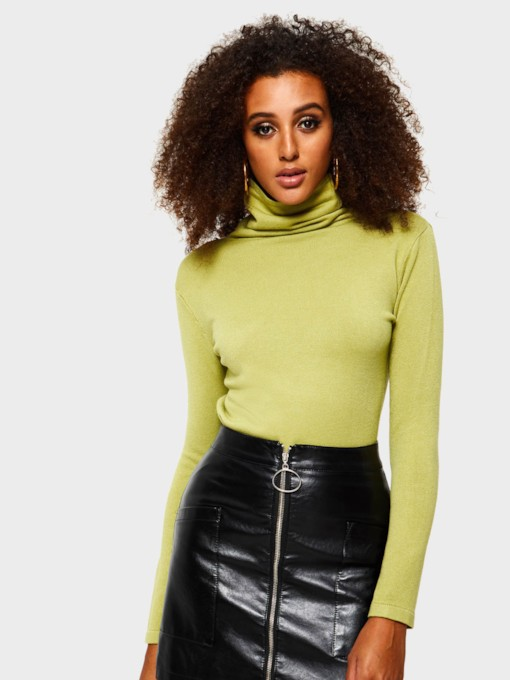 Turtleneck Slim Mid-Length Women's Sweater