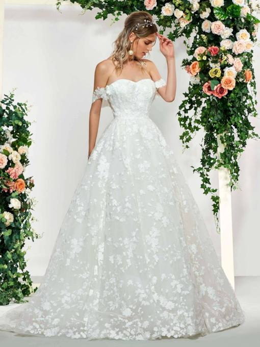 Appliques Lace-Up Ball Gown Wedding Dress