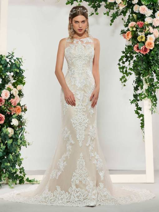 Mermaid Lace Appliques Wedding Dress 2019