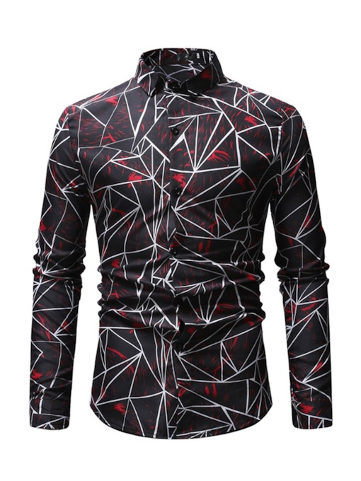 Line Print Casual Lapel Slim Men's Shirt