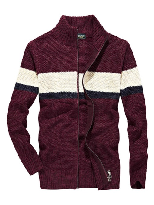 Stand Collar Stripe Color Block Cardigan Men's Sweater