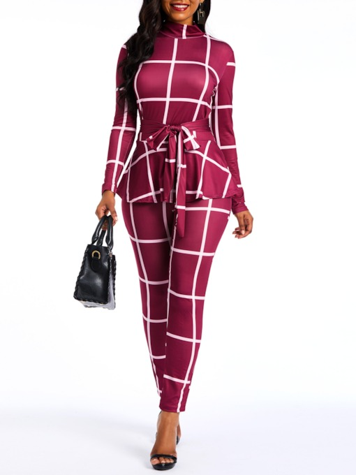 Plaid Falbala Casual Full Length Pencil Pants Women's Jumpsuit