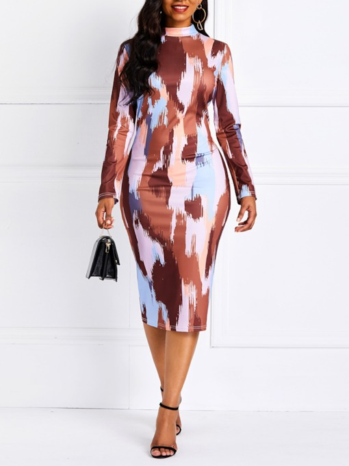 Color Block Casual Bodycon Women's Long Sleeve Dress
