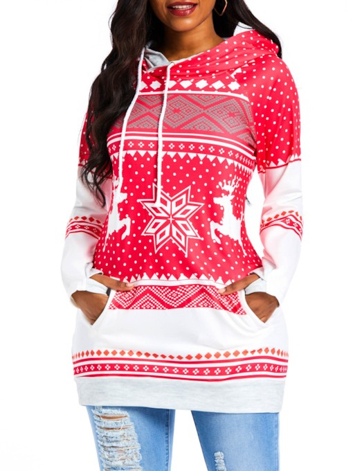 Christmas Geometric Pattern Mid-Length Women's Hoodie