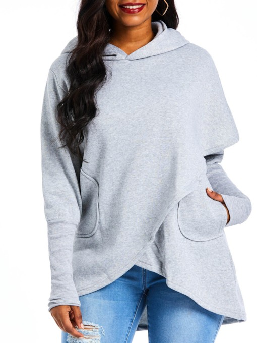 Dual Pockets Plain Asymmetric Women's Hoodie