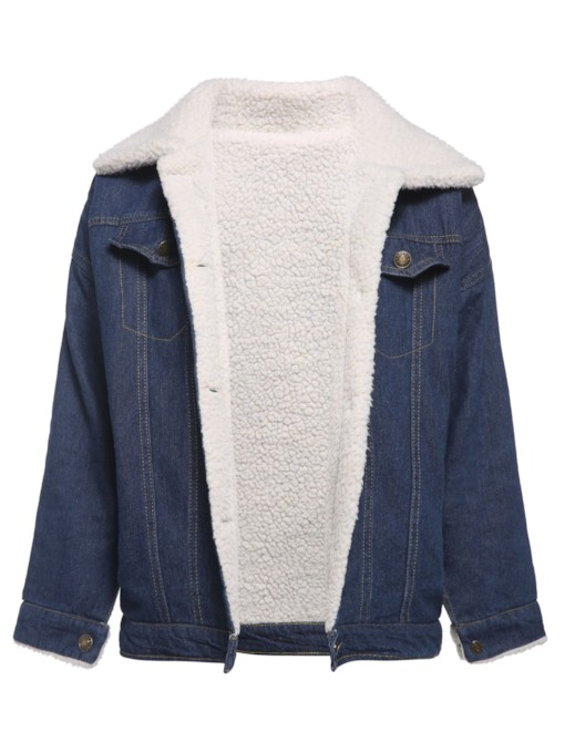 Single-Breasted Wide-Lapel Winter Women's Denim Jacket