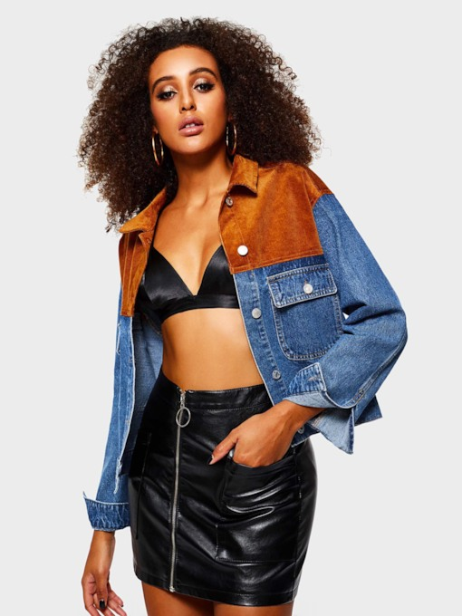 Color Block Single-Breasted Dual Pockets Women's Denim Jacket