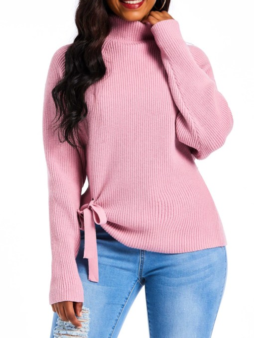 Turtleneck Bowknot Asymmetric Women's Sweater