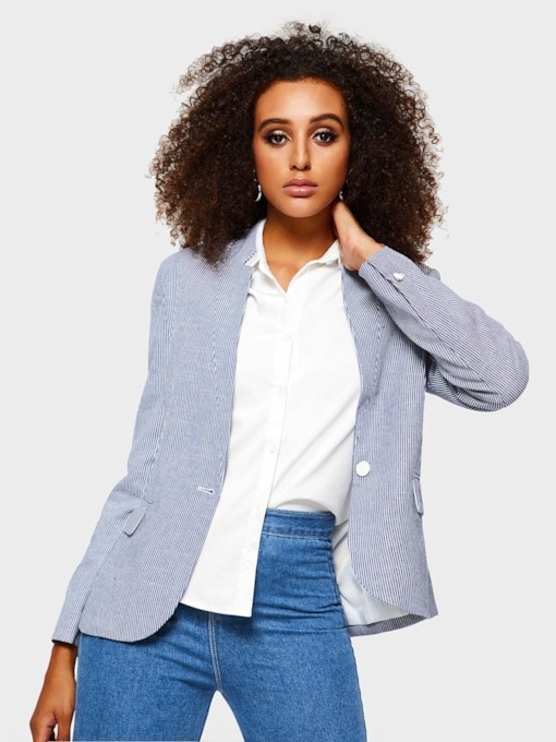 Straight Stripe One Button Casual Women's Blazer