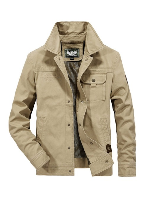 Pocket Lapel Thick Plain Men's Sherpa Lined Jacket