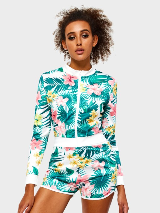 Floral Coat Zipper Casual Stand Collar Women's Two Piece Sets
