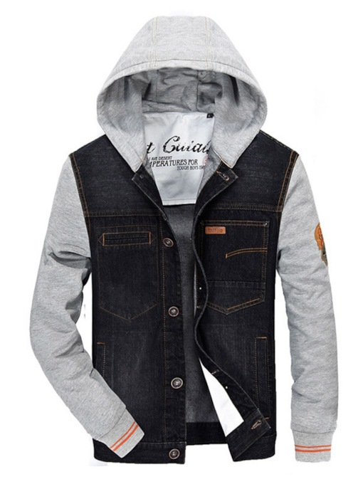 Denim Patchwork Thick Hooded Men's Jacket