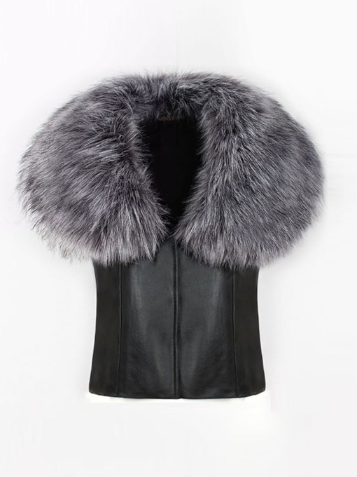 Faux Fur Collar Women's Vest