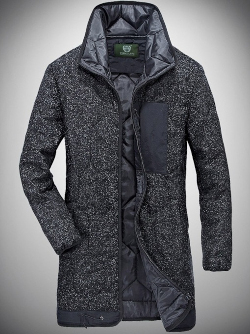 Stand Collar Straight Thick Mid-Length Men's Cotton Coat