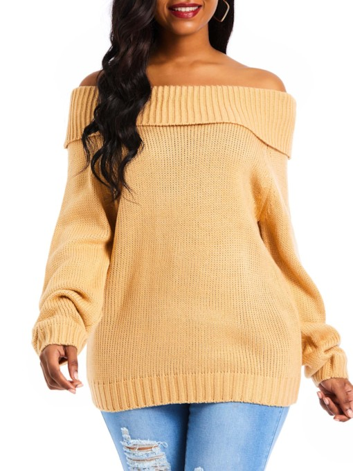Off Shoulder Plain Mid-Length Women's Sweater