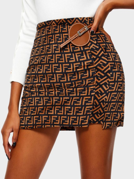 Geometric Patchwork A-Line High-Waist Women's Mini Skirt