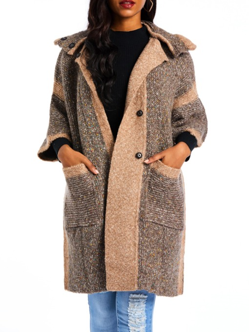 Color Block Tweed Dual Pockets Women's Overcoat