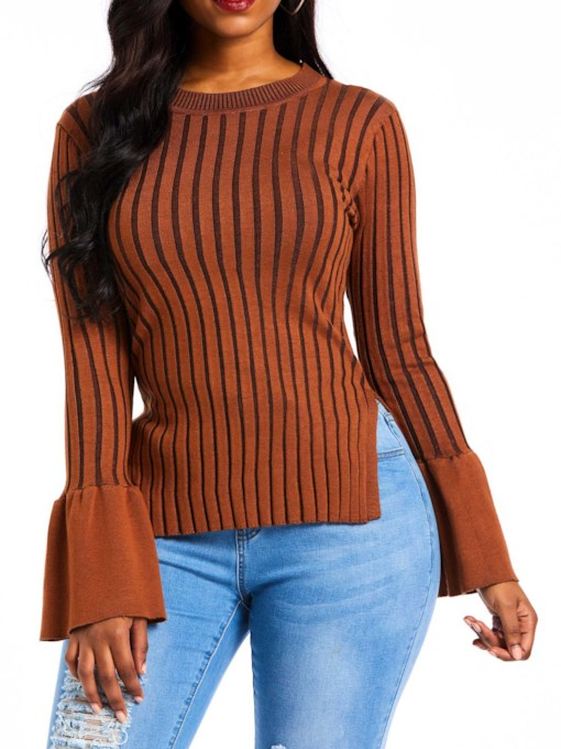 Color Block Stripe Flare Sleeve Women's Sweater
