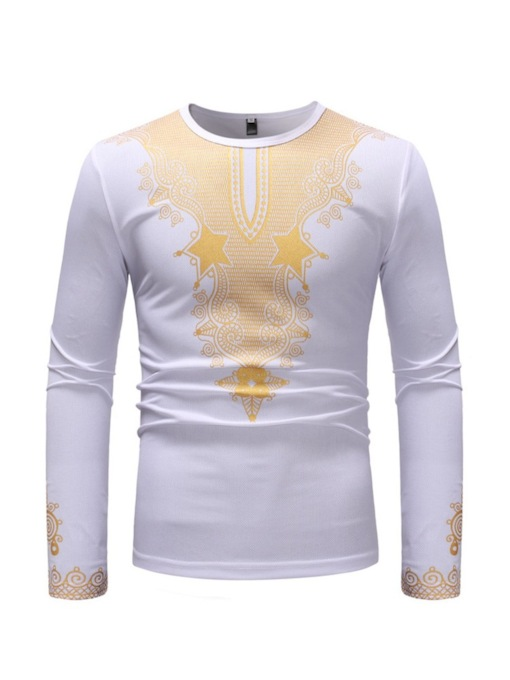 Dashiki Mid-Pattern Ethnic Scoop Neck Slim Men's T-shirt