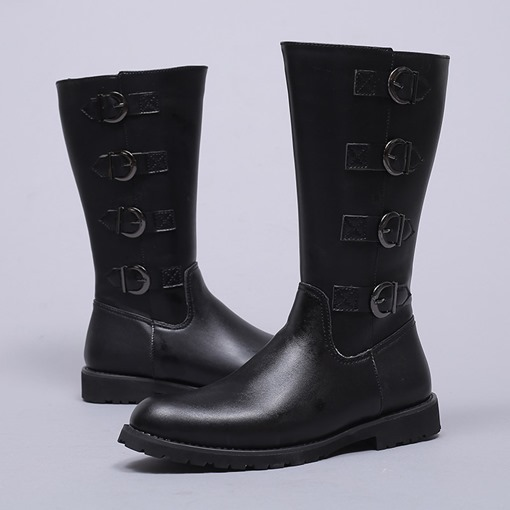 Plain Pointed Toe Side Zipper Buckle Men's Knee-High Riding Boots