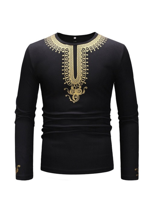 African Dashiki Mid-Pattern Round Neck Slim Men's T-shirt