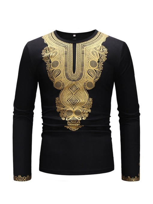 Dashiki Mid-Pattern Ethnic Round Neck Slim Men's T-shirt