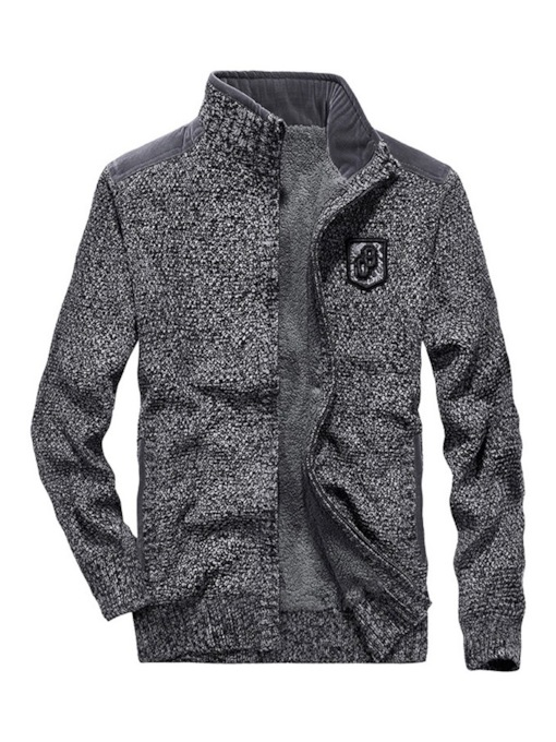Thick Patchwork Stand Collar Zipper Men's Jacket