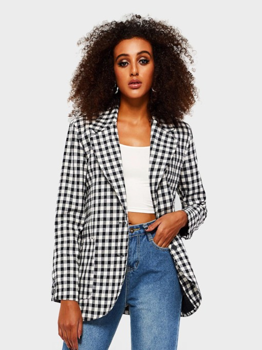 Notched Lapel Plaid Single-Breasted Casual Women's Blazer