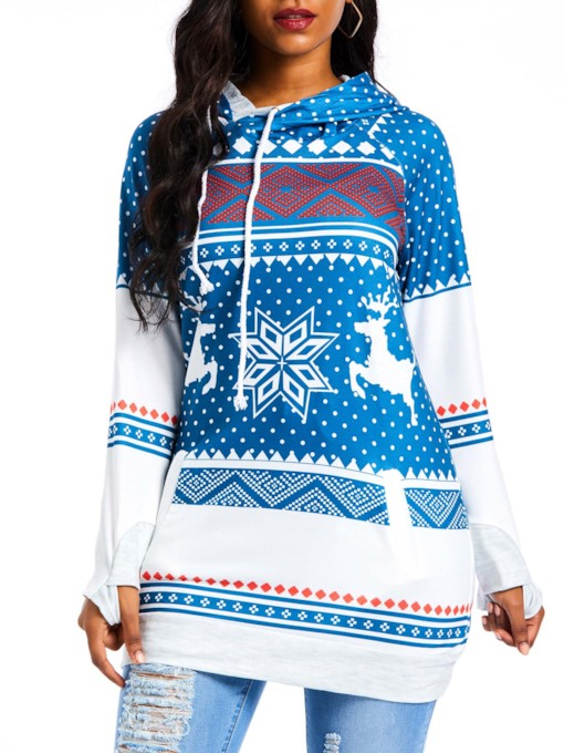 Christmas Color Block Geometric Pattern Women's Hoodie