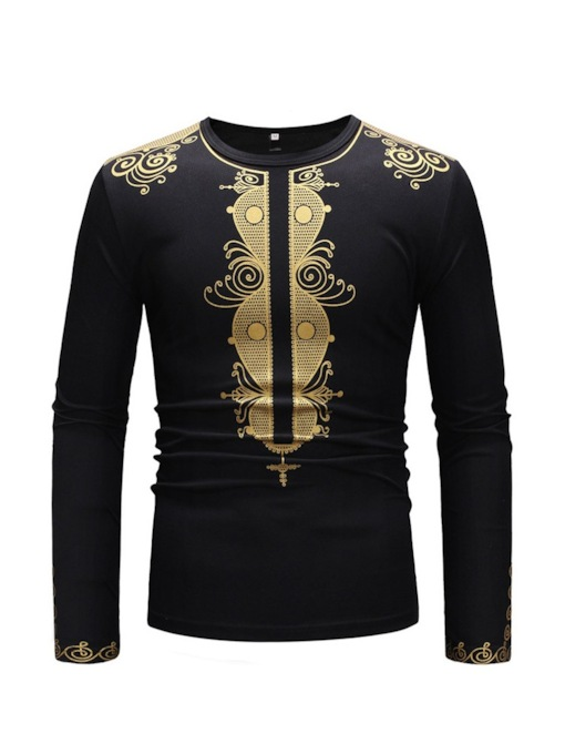 African Ethnic Style Round Neck Slim Men's T-shirt
