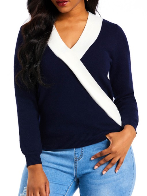 V-Neck Color Block Women's Sweater