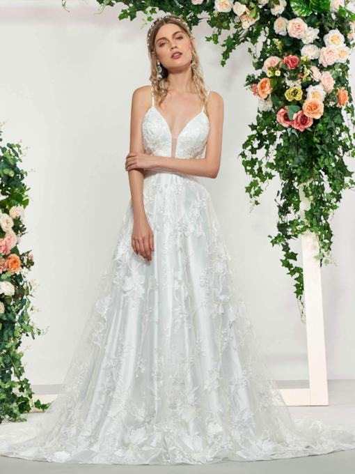 A-Line Straps Lace Appliques Wedding Dress 2019