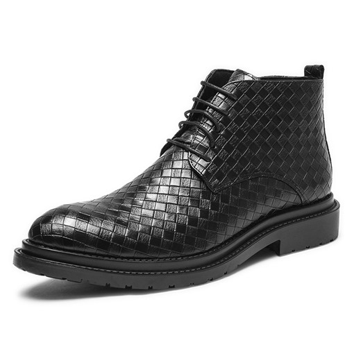 Plaid Side Zipper Pointed Toe Men's Martin Boots