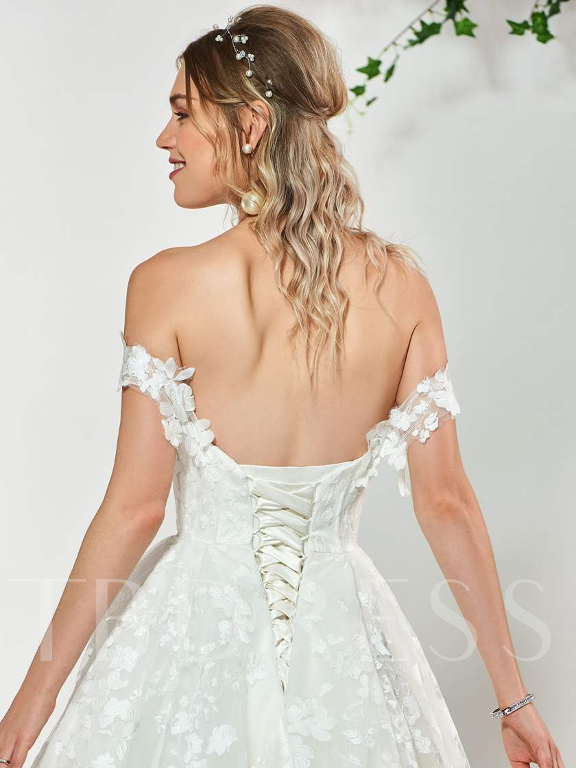 Appliques Lace-Up Ball Gown Wedding Dress 2019