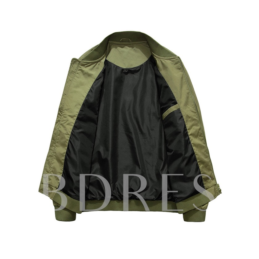 Stand Collar Plain Thick Patchwork Loose Men's Jacket