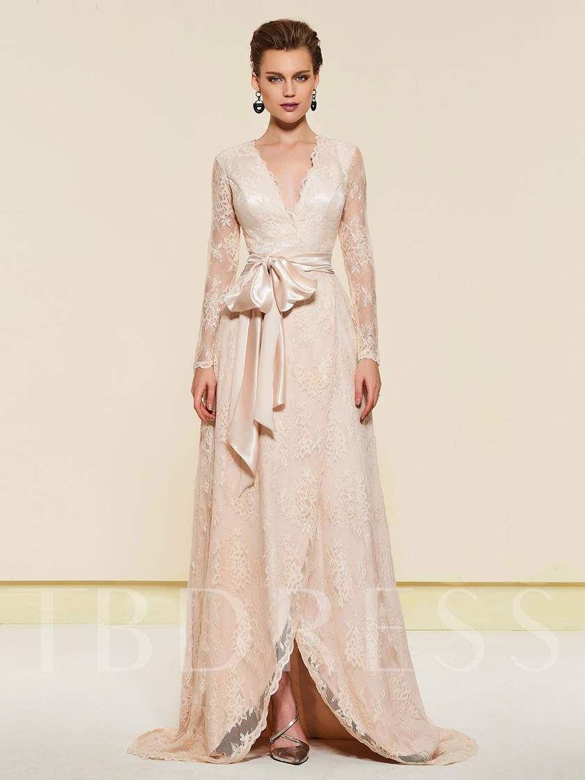 Sashes Long Sleeve Lace Mother of the Bride Dress