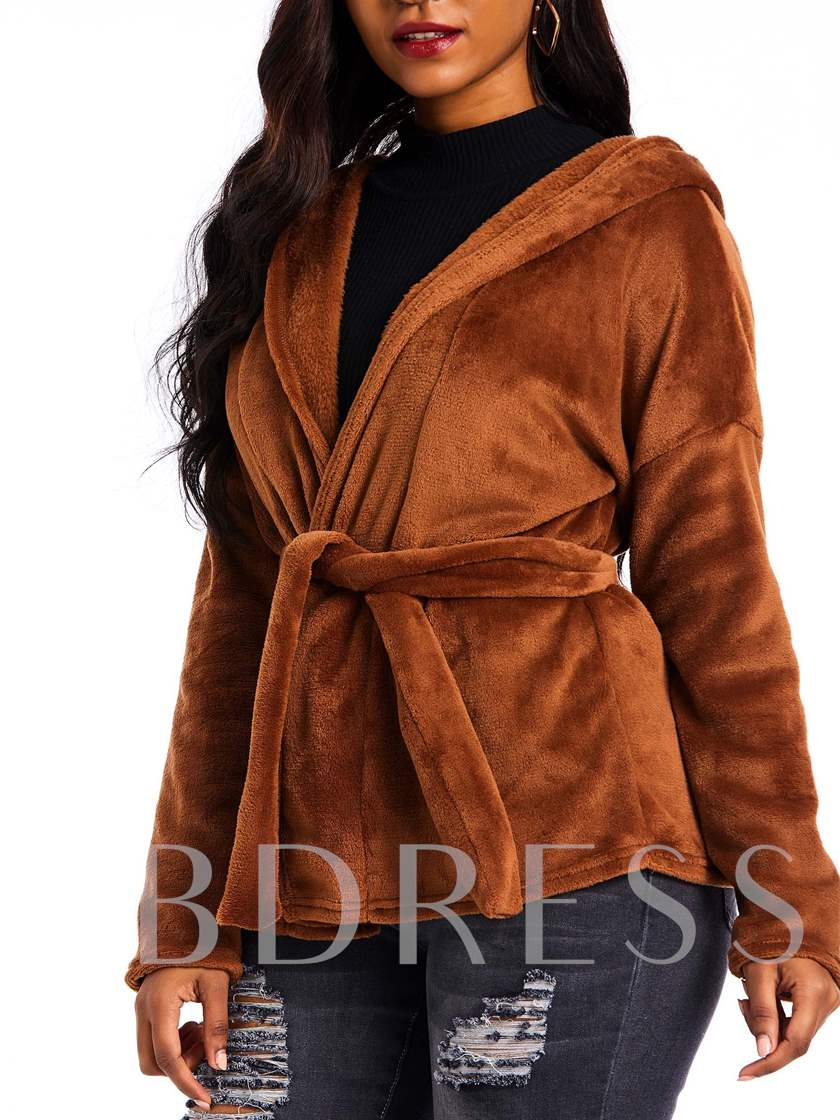 Fluffy Loose Lace-Up Plain Women's Overcoat